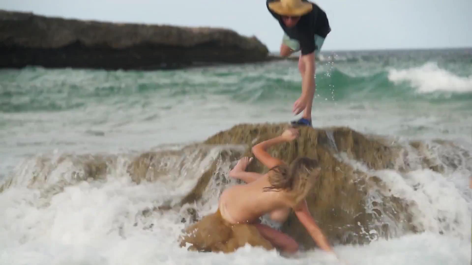 Wave washed off bikini top videos
